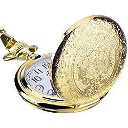 Mudder Golden Vintage Stainless Steel Quartz Pocket Watch with Necklace Chain