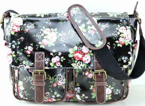 - 51fkMv 2BL7UL - Floral / Polka Dots Ladies Oilcloth Saddle Satchel Messenge Shoulder Hand School Bag (Black)