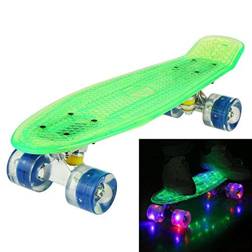 55CM Mini Cruiser Skateboard Blinkender Deck, Kunststoff Skateboard mit LED Leuchten/Deck Komplett Retro Skate Board für Jungen Mädchen Kinder Jugendliche Erwachsene (Skateboard Jungen Deck)