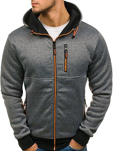 BOLF Herren Kapuzenpullover Sweatshirt Hoodie mit Reißverschluss RED Fireball W1232 Grau XXL [1A1]
