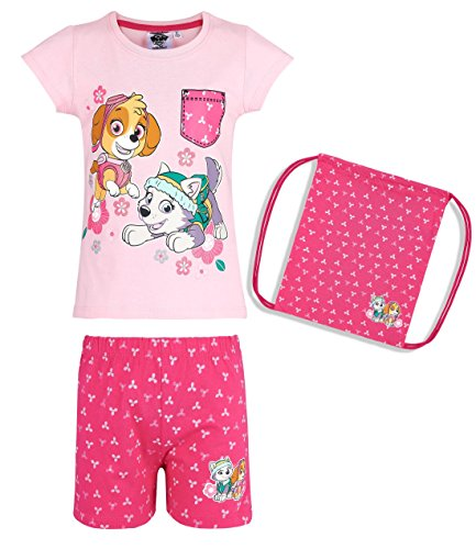 Paw Patrol Mädchen Shorty Pyjama, Schlafanzug, mit Beutel Rosa 92