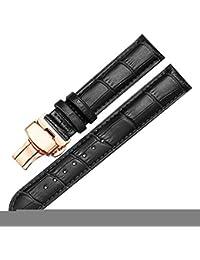 22mm Bracelets de Montres Noires Bracelets de Montre en Cuir Vachette avec  Boucle déployante en Or ddc994560e7
