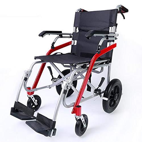 ZBB Manueller Rollstuhl Leichtes faltbares tragbares leichtes Magnesiumlegierungs-Multifunktionsmaterial Bequemes atmungsaktives Stoffsitzkissen für Reisen und Aufbewahrung - Vorteil Rollstuhl