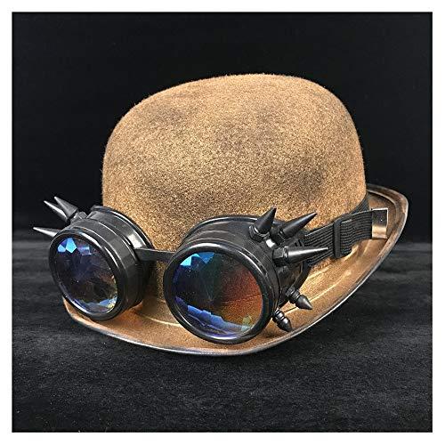 SHENLIJUAN Mode Frauen Männer Steampunk Melone Gläser Topper Top Hüte Katze Ohr Fedora Hut # (Farbe : Gold BLB, Größe : 57-58 cm) -
