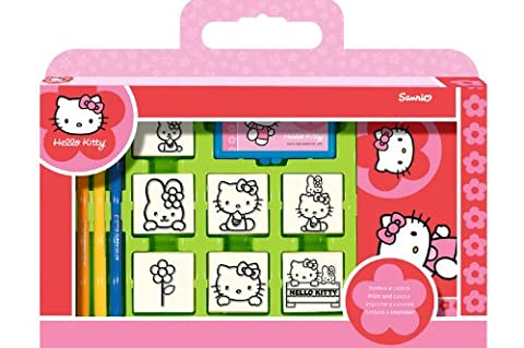 Noris Spiele 606317803 - Hello Kitty ,Stempel Set im Köfferchen, 7 Stempel