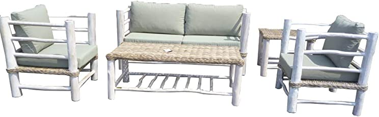 Landwood Furniture Sitzgruppe Sebarang, Gartenmöbel Garnitur aus Rattan, Lounge Möbel Set