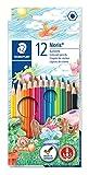 Staedtler crayons de couleur Noris Club, formule ABS anti-casse, norme CE EN71, bois certifié PEFC, 12 coloris assortis en étui carton, 144 NC12.