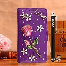 Locaa(TM) For Samsung Galaxy Mega 6.3 I9200 Rosa 3D Bling Case 3 IN 1 Accesorios Protector Phone Cover Shell Caso Funda Alta Calidad Piel Para Carcasa Bumper [Rosa 1] Azul - Rosa claro