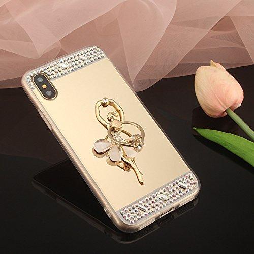 Hpory Kompatibel mit iPhone 7 Plus Handyhülle, Glänzend Glitzer Kristall Dancing Girl Muster Ring Fingerhalterung Ständer Strass Diamanten Silikon Hülle Bumper Tasche Case für iPhone 7 Plus-(Gold) - Diamant-ring Dancing
