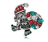 XBY.mi 1PCS Elegante Romantico Inverno Natale Babbo Natale Fiore Alce Spilla( Babbo Natale Argento )