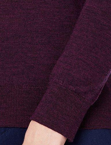 MERAKI Merino Pullover Damen mit V-Ausschnitt, Rot (Berry Marl), 36 (Herstellergröße: Small) - 5
