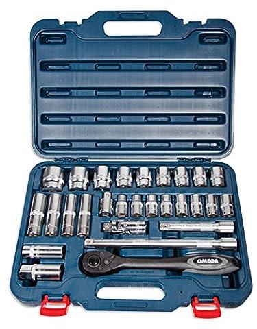 Omega Mechanix M1228 Jeu de Douilles 1/2 Pouces DR, 28 Pièces