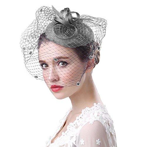 Fascinator Hüte 20er 50er Jahre Hut Haar Clip Accessoire Haarreif Kopfbedeckung mit Schleier Cocktail Tea Party Hochzeit Kirche Haarschmuck Kopfschmuck für Mädchen und Frauen, Grau, M