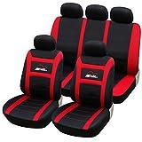 universal Sitzbezüge für Auto Schonbezüge Sitzbezug Schonbezug Set Sitzschoner Komplettset Schwarz-rot AS7259