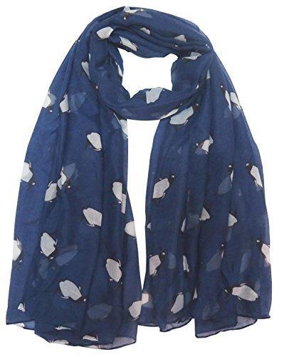 Lina & Lily Pinguin Aufdruck Damen Schal Überdimensional - Blau, Einheitsgröße (Pinguin Leichte)