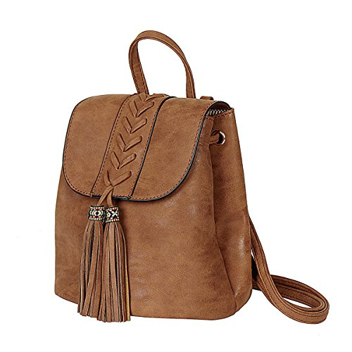 Rucksack Damen,Bohemian Tasche Stickerei Mädchen Rucksack Soft PU für Reisen Shopping Dating Party Urlaub, Braun,  - Soft-leder-brieftasche