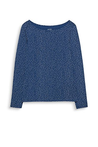 edc by ESPRIT Damen Langarmshirt Blau (Petrol Blue 450)