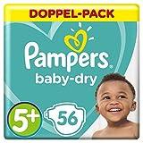 Pampers Baby-Dry Windeln, Gr.5+, für Atmungsaktive Trockenheit, 56 Stück