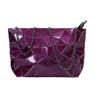 AiSi Geometric Pu Leather Shoulder Handbags Holographic Clutch Bag Metal Chain Satchel Purse, Purple