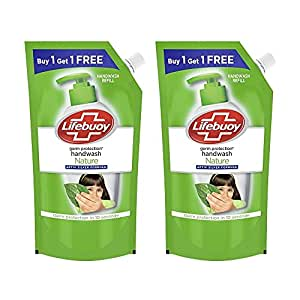 Lifebuoy Nature Germ Protection Green Tea Liquid Handwash Refill, Fights Bacteria And Viruses, Maintains Hand Hygiene, 750 ml (Buy 1 Get 1 Free)