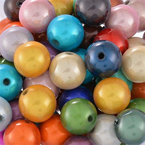 YC Mélange perles de Acrylique Multicolore, ABS, Mixed-3, 10 mm
