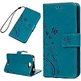 Funda Libro BQ Aquaris U Lite de Suave Cuero PU Premium - Mavis's Diary Carcasa Con TPU Silicona Case Interna Suave,Soporte Plegable,Ranuras para Tarjetas y Billetera,Cierre Magnético - Diseño de Impresòn de Mariposa Flor - Color Azul