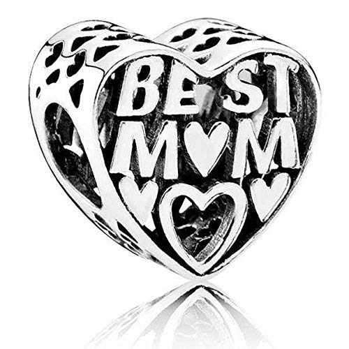 Pandora Moments Offen gearbeitetes Best Mum Herz-Charm Sterling Silber 791882