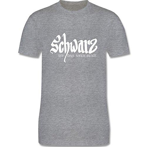 Sprüche - Schwarz ist das neue bunt - Herren Premium T-Shirt Grau Meliert