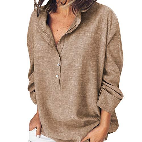 OIKAY Frauen Langarm Leinenhemd Oberteile Casual Button T Shirts Verlieren Tanktops
