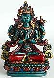 Chenrezig tibetischer Buddha und Schutzheiliger Tibets 11 cm hoch aus Giesharz türkis bemalt Figur Handarbeit aus Nepal