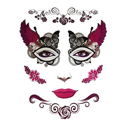 (Baoblaze Herren Damen Kinder Temporay Tattoos Aufkleber Halloween Kostüm Kindertattoos Karneval Fasching Sticker - 2)
