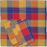 4 Stück Stoff Servietten aus Baumwolle, 40 x 40 cm, kariert, verschiedene Fb. sort., durchgewebt (rot)