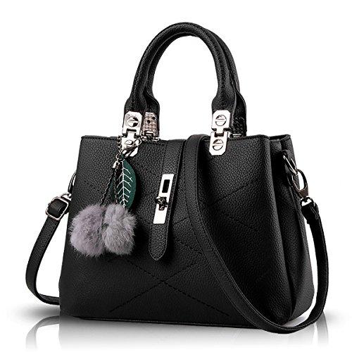 Tisdain Borsa selvaggia della sfera dei capelli della borsa del messaggero del messaggero del sacchetto di spalla del sacchetto di spalla della borsa delle nuove borse 2017 di modo nero