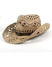 Gr Handgemachte Womem Männer Western Cowboy Hut Jazz Stroh Cowboyhut Frauen Männer (Color : Black, Größe : 56-58CM)