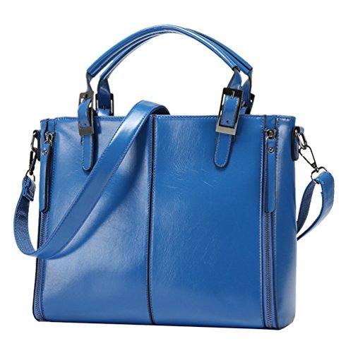 YiLianDa Borsa a Tracolla Donna Vintage Borsa Messenger Valigetta da Ufficio Blu