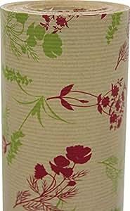 Clairefontaine Kraft Brun Rouleau de papier cadeau imprimé 50 x 0,7 m Motif Fleurs sauvages Rouge/Vert