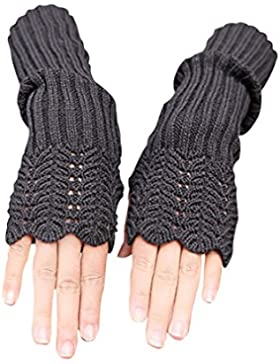 NOVAWO Damen Winter Warmer Strick Lange Handschuhe Fashion Armlinge