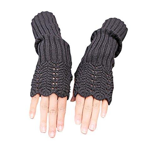 NOVAWO Damen Winter Warmer Strick Lange Handschuhe Fashion Armlinge