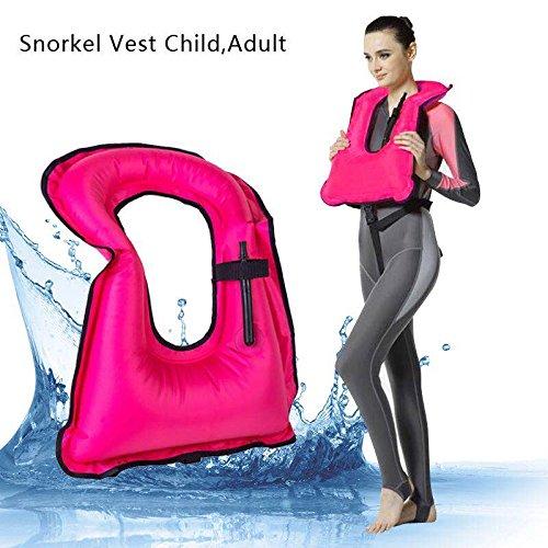 Snorkel Vest - Chaleco de buceo de superficie hinchable muy seguro , rosa, adulto