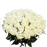 Veryhome Künstliche Blumen Silk Rosen Gefälschte Braut Hochzeit Bouquet für Hausgarten Geburtstag Party Blumendekor 10 Stücke (Weiß Rose B, 10 Stücke)