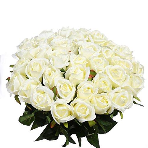 Veryhome 10 pezzi fiori artificiali rose di seta falso bouquet da sposa da sposa per la casa giardino partito decorazioni floreali (bianco, bocciolo di rose)