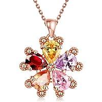 SunIfSnow cinque petali, da donna, motivo: fiore multicolore, con collana a girocollo con pietre