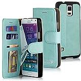Golden Phoenix® ROYAL Lederhülle für Samsung-Galaxy-Note-4 mit abnehmbarem Backcover, Geldfach und Kartenschlitze inkl. Display Schutzfolie - Hülle Tasche in Türkis