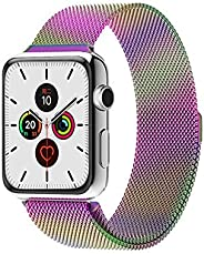 Compatible with Apple Watch Band 38mm 40mm 42mm 44mm, Adjustable Stainless Steel Metal Mesh Loop Bracelet Wris