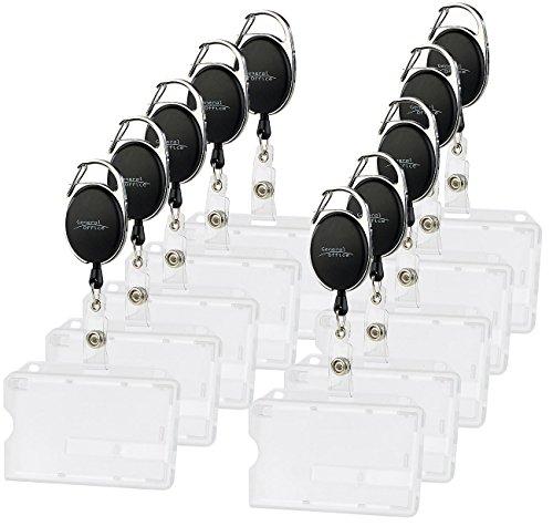 General Office Kartenhalter: Ausweishülle aus Hartplastik, 60-cm-Jojo-Befestigungs-Clip, 10er-Set (Ausweishalter)