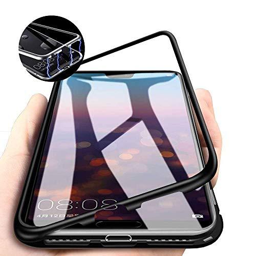 Magnetische Hülle Xiaomi Mi 8 Lite Handyhülle,[Magnetic Adsorption Funktion]Ultra Dünn Aluminium Metallrahmen Transparente Tempered Glass Back Phone Case Schutzhülle,für Xiaomi Mi 8 Lite,Schwarz