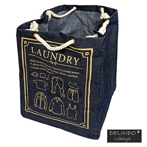 Aufbewahrungstasche LAUNDRY / Taschen für schmutzige Wäsche im toolen Jeans Look / 47x34x34 cm / mit praktischem Kordelzug (Wäsche Schmutzige)