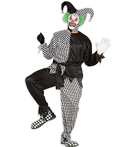 Widmann 01654 - Erwachsenenkostüm Evil Jester, Jacke, Hose, Gürtel und Hut, Gröߟe - In Halloween Karikaturen Spanisch