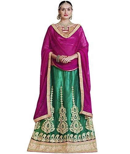 Indian Ethnicwear Bollywood Pakistani Wedding Green A-Line Lehenga Semi-stitched-ARD43003