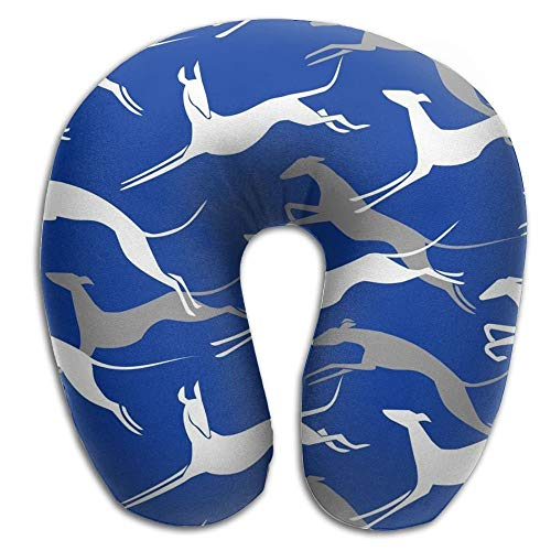 EighthStore U-förmiges Kissen Jumping Greyhound Navy Blue Soft U-Shaped Neck Pillow Head & Neck Support for Travel -